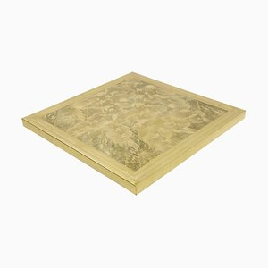 Square Etched Brass Coffee Table by Armand Jonckers, 1970s