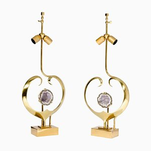 Lamps in Brass and Amethyst by Willy Daro, Set of 2