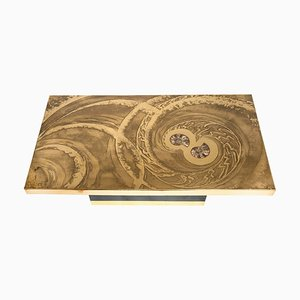 Coffee Table in Etched Brass with Inlay in Ammonite by Georges Mathias