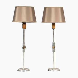 Table Lamps in Silver and Tiger's Eye, 1960s, Set of 2