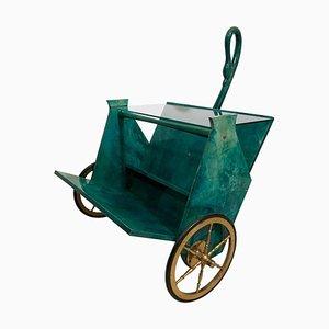 Green Goatskin Bar Cart by Aldo Tura, 1960s