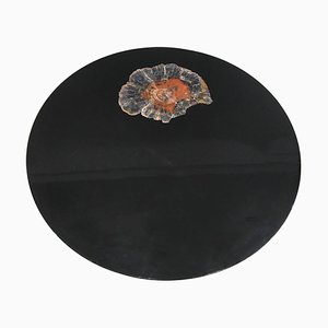 Circular Coffee Table in Black Resin and Petrified Wood by Ado Chale