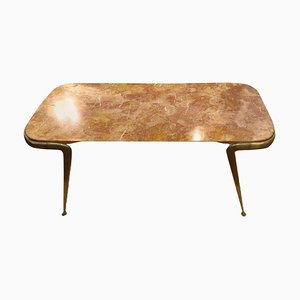 Italian Coffee Table in Breccia Marble and Brass, 1960s