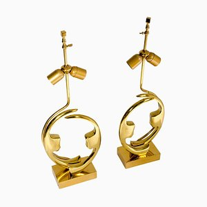 Sculptural Brass Lamps by Willy Daro, Set of 2