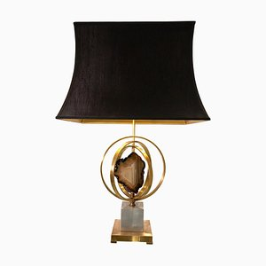 Lamp with Brass Circle and Agate by Willy Daro