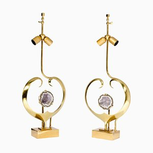Sculptural Lamps with Brass Heart and Amethyst by Willy Daro, Set of 2