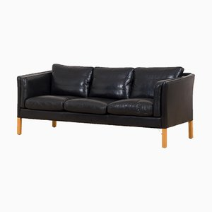Vintage Danish Sofa in Thick Black Aniline Leather in the Style of Børge Mogensen from Stouby