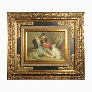 Children With Dog - Signed Oil Painting in Prunkrahmen
