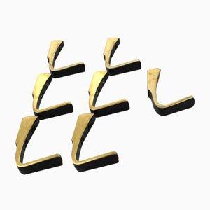 Gold-Anodized Aluminum Hooks, 1950s, Set of 7
