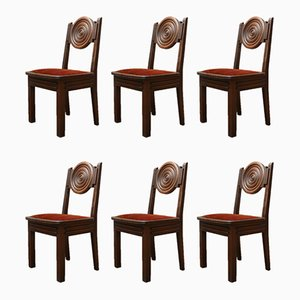 French Art Deco Oak Dining Chairs, Set of 6