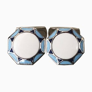 Light Blue, White & Navy Blue Hand-Enameled Sterling Silver Cufflinks with T-Bar Back from Berca