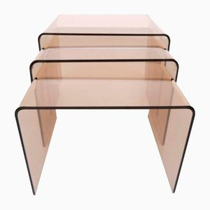 Smoked Lucite Nesting Tables, France, 1970s, Set of 3