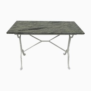 Garden Table with Green Marble Top and Cast Iron Base