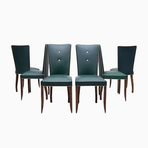 French Art Deco Dining Chairs, 1940s, Set of 6