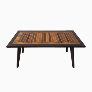 Vintage Coffee Table with Different Types of Inlaid Wood