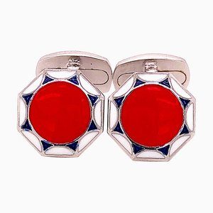 Red, White & Blue Hand-Enameled Sterling Silver Cufflinks with T-Bar Back from Berca