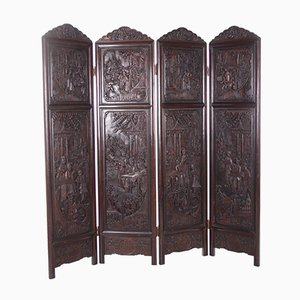 20th Century Chinese Rosewood Folding Room Divider