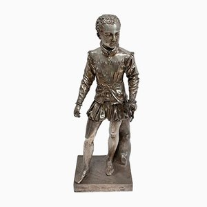 Large Silver-Plated Bronze Sculpture After F-J. Bosio, Henry IV as a Child, Early 19th Century