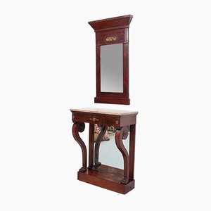 Empire Style Mahogany Trumeau Mirror with Matching Console Table, Set of 2