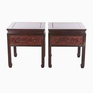 20th Century Chinese Wooden Bedside Tables with Hand Carving, Set of 2