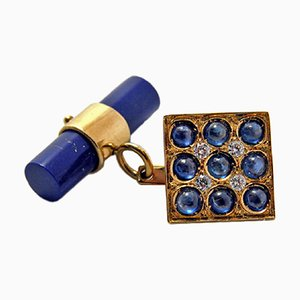 18K Yellow Gold, 2.06K Natural Sapphire Cabochon, White Diamond & Lapis-Lazuli Stick Back Cufflinks from Berca