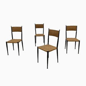 Wood and Cord Chairs in the Style of Gio Ponti, Set of 4