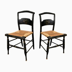 Hitchcock Chairs in Black Wood and Straw with Floral Motifs, Set of 2