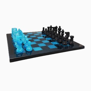 Italian Blue and Black Alabaster Chess Set, 1970s, Set of 33