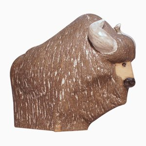 Bison in Ceramic by Göran Andersson for Upsala Ekeby, Sweden, 1960s
