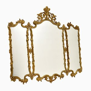 Large Antique French Rococo Style Brass Mirror