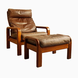 Danish Teak & Leather Chair with Ottoman from L. Olsen & Son, 1960s, Set of 2