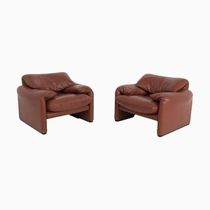 Maralunga Armchairs by Vico Magistretti for Cassina, Set of 2