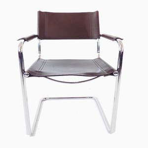 MG 5 Cantilever Chair in Chrome & Brown Leather by Matteo Grassi