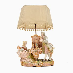 Antique Italian Capodimonte Porcelain Table Lamp