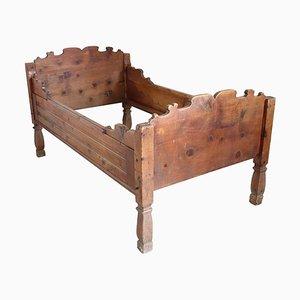Antique Pine Bed, 1850s