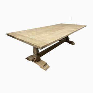 Large Bleached Oak Farmhouse Dining Table