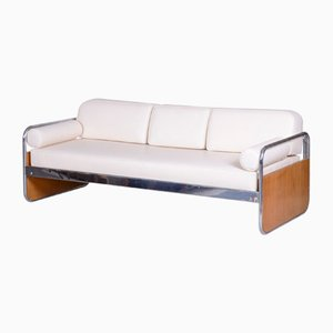 Czech Bauhaus Ivory & Chrome Sofa by Hynek Gottwald, 1930s