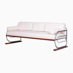 Bauhaus White Leather & Chrome Sofa by Robert Slezák, 1930s