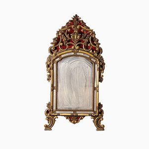 Espejo italiano vintage dorado ornamentado