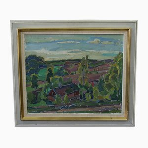 Swedish Modern Painting by Henry Mayne, Oil on Canvas, 1960s