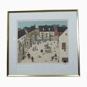 Large Hand Signed Modern Lithograph by Hans Berlin, 1970s