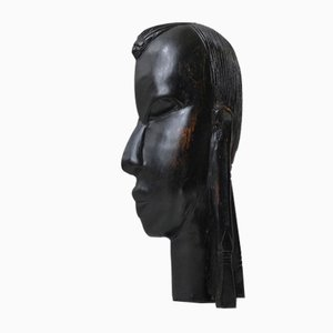 Vintage African Ebony Face Wall Plaque, 1960s