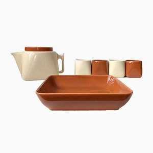 Ceramic Tea Service by Nanna Ditzel for Søholm, 1970s, Set of 6
