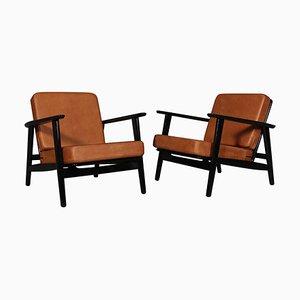 Cognac Leather Model 233 Lounge Chair by Hans J. Wegner for Getama, Set of 2