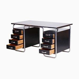 Czech Bauhaus Black Chrome Plated Steel Writing Desk from Vichr a Spol, 1930s,