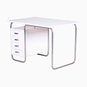 Czech Bauhaus White Beech & Chrome Writing Desk by Robert Slezak, 1930s