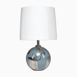 French Silver Ceramic Table Lamp, 1930s