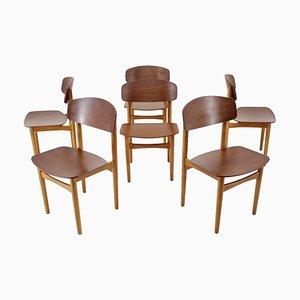 Oak and Teak Model 122 Dining Chairs by Børge Mogensen for Søborg Møbelfabric, 1960s, Set of 6