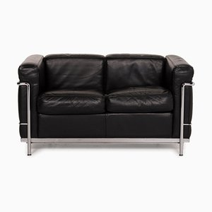 Black Leather LC2 Sofa by Cassina for Le Corbusier
