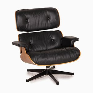 Black Leather Armchair by Charles & Ray Eames for Vitra